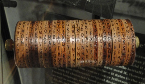 Jefferson cylinder cipher  replica at the museum